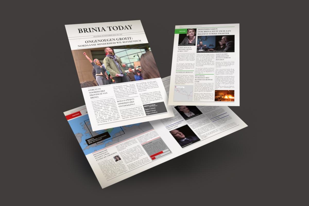 Vormgeving en opmaak krant oefening 'Brinia' voor Ministerie van Defensie