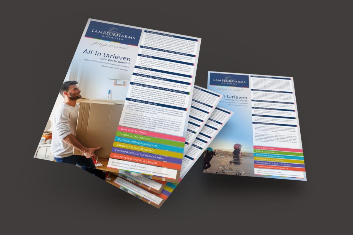 Vormgeving en opmaak tariefkaarten LambeckHarms Notarissen